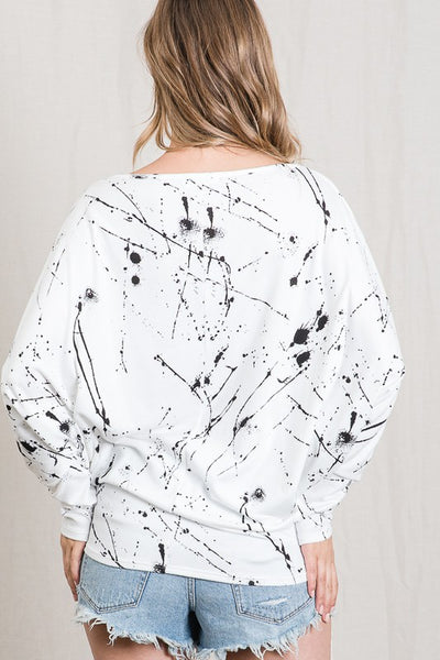 RESTOCKED!!! Paint Dripped Boat Neck Dolman Long Sleeve