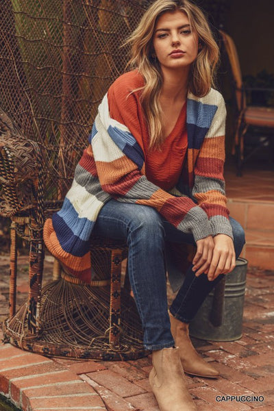 The Ginny Striped Ribbed Knit Cardigan