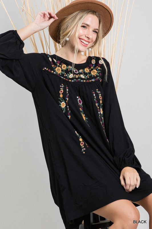 Black Boho Floral Embroidered Dress
