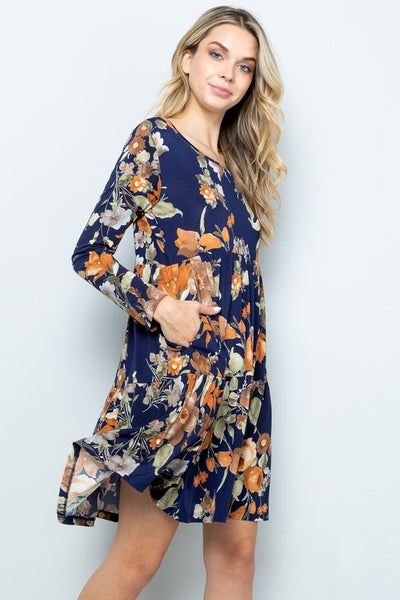 RESTOCKED!! Sunday Best Fall Floral Long Sleeve Dress