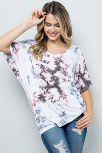 RESTOCKED!! Sweet Sugar Pink Tie Dye Dolman Tunic Top