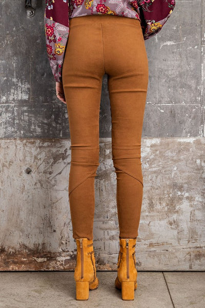 High Rise Suede Skinny Pants in Camel