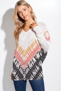 Chevron Tie Dye V-Neck Knit Long Sleeve Top