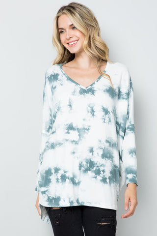 RESTOCKED!! Swirled Tie Dye Dolman Tunic Top in Slate Grey