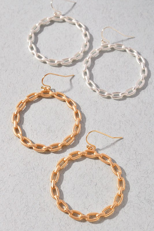 Linked Forever Chain Circle Hook Earrings- 2 Colors!