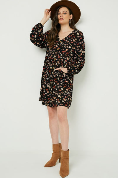 Basically Boho Rust Floral Print Dress