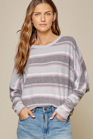 Perfectly Paired Grey Stripe Sweater