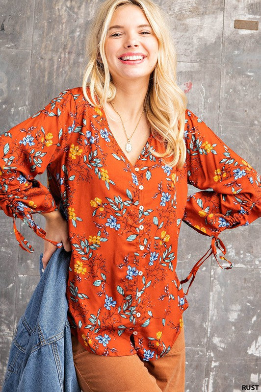 The Charlotte Button Down Floral Top