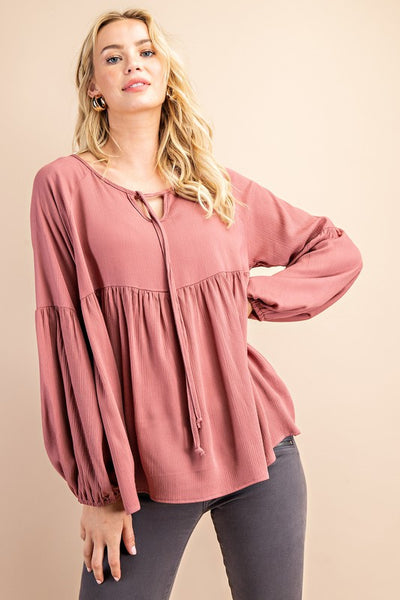 RESTOCKED!! Made You Look Gauze Boho Top in Mauve