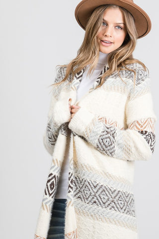 Calm & Cozy Patterned Sweater Coat