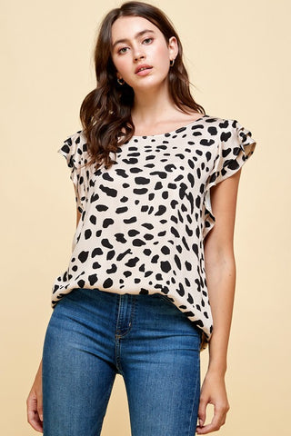 Leopard Print with Double Ruffled Sleeves