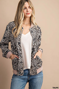 RESTOCKED!! The Betty Leopard Bomber Jacket in Taupe
