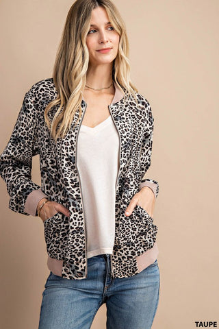 The Betty Leopard Bomber Jacket in Taupe