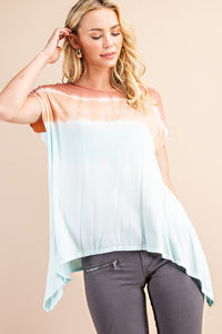 Soft Terra Cotta Sunrise Asymmetrical Tunic Tee
