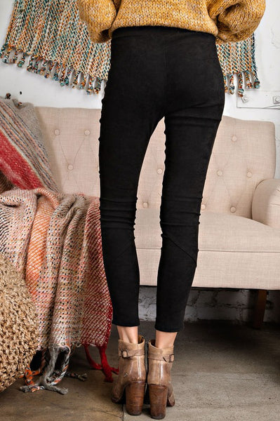 High Rise Suede Skinny Pants in Black