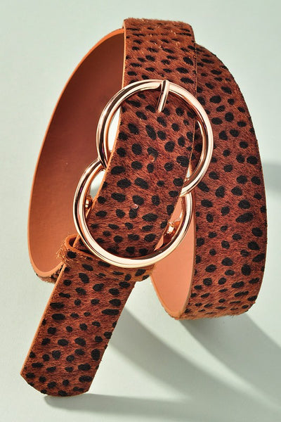 Pulled Together Cheetah Faux Fur Double Ring Belt