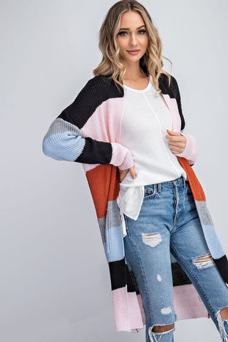 The Bold & Brassy Color Block Sweater Cardigan