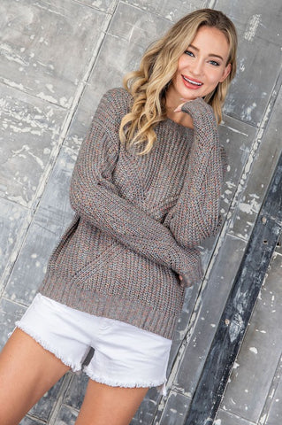 The Maggie Marled Color Pullover Sweater-2 Colors!