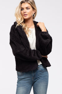 Take Me Out Open Front Teddy Cardigan