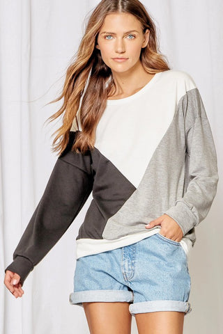 No Questions Gray Geometric Block Top