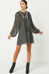 The Evelyn Embroidered Printed Tunic Dress