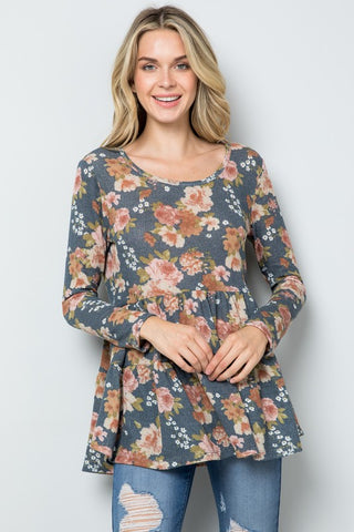 Floral Waffle Knit Tiered Babydoll Top