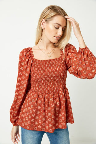 HOT PRICE!! The Poppy Puff Sleeve Smocked Peplum Top