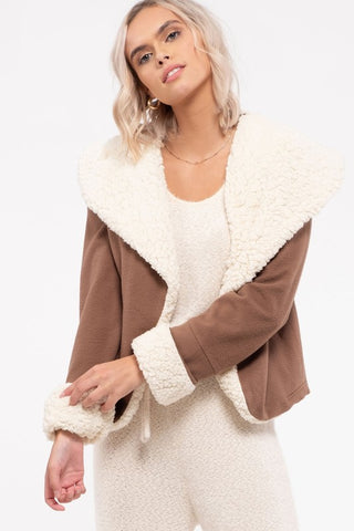 Roasted Chestnut Faux Shearling Shacket