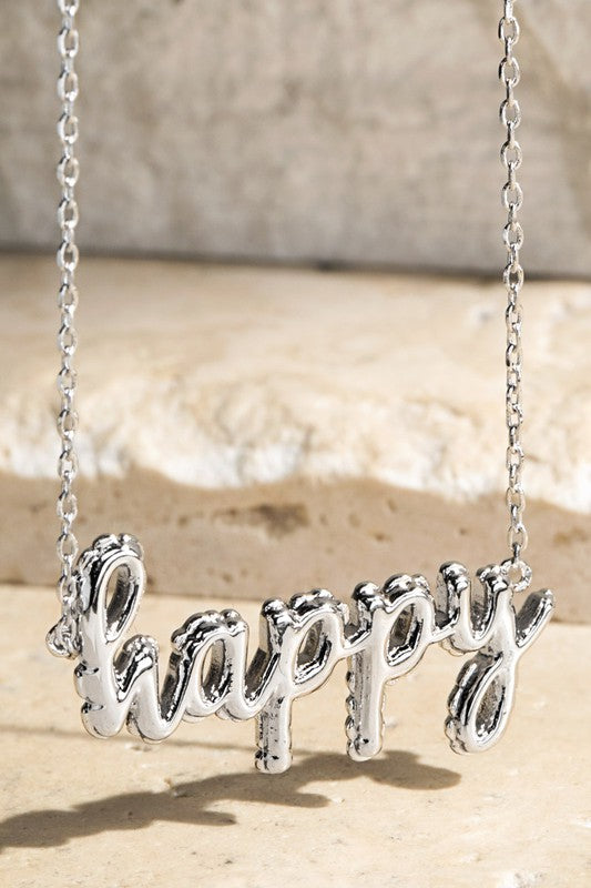 Stay Happy Balloon Pendant Necklace in Silver
