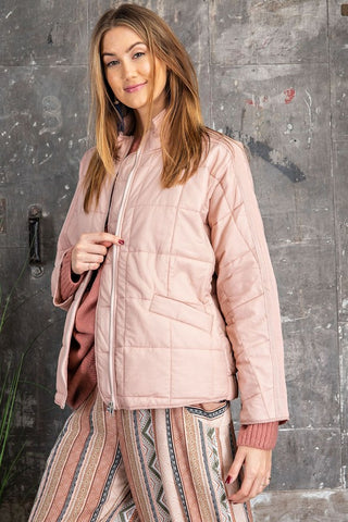 The Nicole Quilted Jacket in Blush