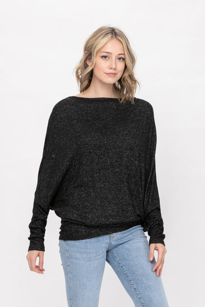 Hazy Charcoal Black Batwing Slouchy Knit Top