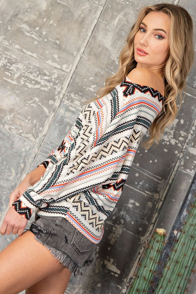 The Alissa Aztec Slouchy Dolman Top
