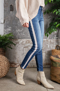 RESTOCKED!! The Melanie Striped Dark Wash Jeggings