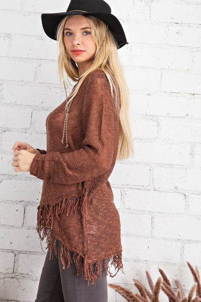 The Fredonia Fringe Wrap Hem Sweater Top- 2 Colors!