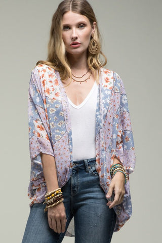 WIldflower Walks Mixed Print Kimono