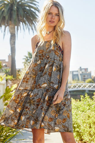 Tiki Floral Print Babydoll Dress