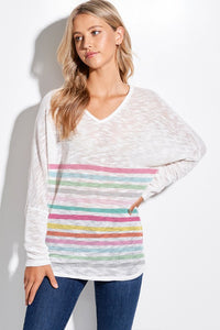 Candy Striped Valentine Knit Sweater Top
