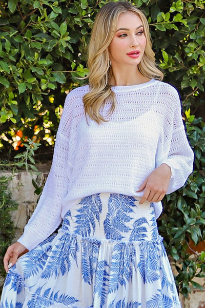 Perfectly Poised Pointelle Sweater Top in White