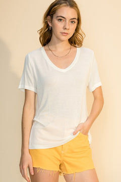 Way to Work V-Neck Sweater Tee in White