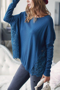 Lovely Lace Teal Boho Sweater Top