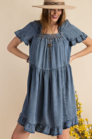Classic Chambray Square Neck Swing Dress