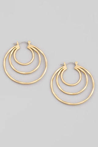Triple Threat Metallic Hoop Earrings- 2 Colors!