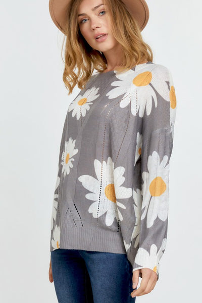 RESTOCKED!!! Ray of Sunshine Floral Crew Neck Sweater