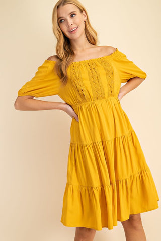 Golden Rays Mustard Off the Shoulder Lace Dress