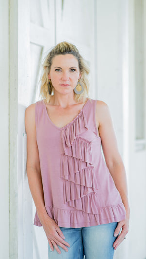 Solid V-Neck Tank Featuring Cascade Ruffle - Mauve