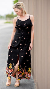 Sleeveless Woven Floral Dress in Black with Buttons