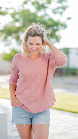 V -Neck Waffle Top Dusty Pink