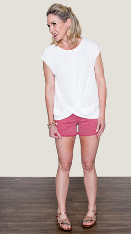 Cargo Frayed Hem Shorts in Rose Pink