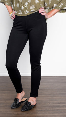 Lola Brand Black Pull-On Ponte Pant- 4 Way Stretch!