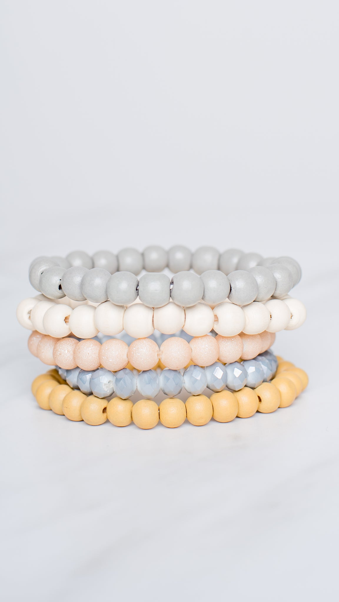 Stretch Wood Bracelets Set of 5 Mustard/Blue